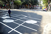 SHENYANG, CHINA - OCTOBER 14: (CHINA OUT)<br /> <br /> Funny Zebra Crossing's<br /> <br /> Citizens walk on zebra crossings decorated as musical staff at Yingchang Street on October 14, 2014 in Shenyang, Liaoning province of China. Zebra crossings are designed into various funny forms such as piano keys, musical satffs and little feet to draw citizens\' attention to walk on sidewalk when cross roads.<br /> ©Exclusivepix
