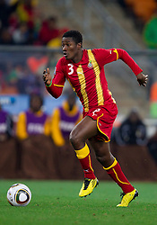 Asamoah Gyan of Ghana during the  2010 FIFA World Cup South Africa Quarter Finals football match between Uruguay and Ghana on July 02, 2010 at Soccer City Stadium in Sowetto, suburb of Johannesburg. Uruguay defeated Ghana after penalty shots. (Photo by Vid Ponikvar / Sportida)