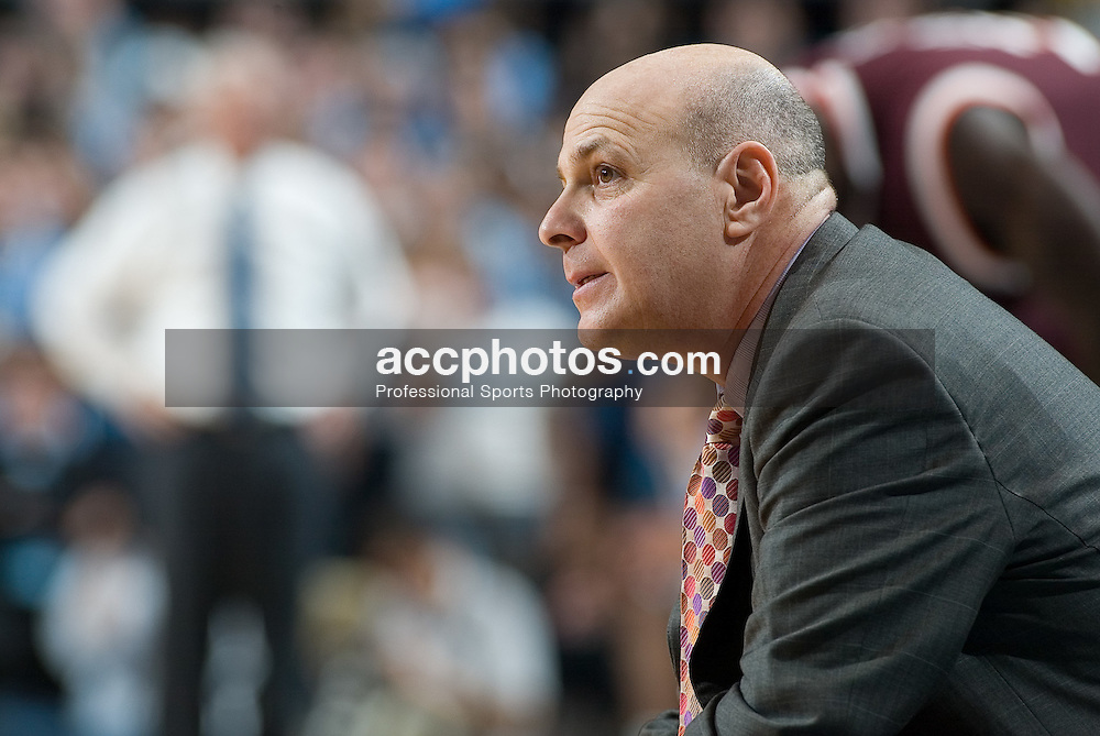 13 February 2007: Virginia Tech head coach Seth Greenberg during a 81-80 Virginia Tech Hokie overtime win over the North Carolina Tar Heels, in the Dean E. Smith Center in Chapel Hill, NC.