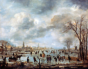 River Scene in Winter' c1660.  Oil on canvas. Aert van der Neer (c1603-1677) Dutch painter. Frozen landscape  with skaters, horse-drawn sledge, men playing ice golf/hockey on river.