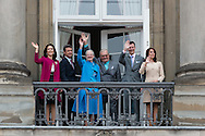 16.04.2016. Copenhagen, Denmark.<br /> Crown Princess Mary, Crown Prince Frederik, Queen Margrethe II,  Prince Henrik,  Prince Joachim and Princess Marie appear on the Balcony of Amalienborg Palace on The 76th Birthday of Queen Margrethe II of Denmark<br /> Photo:© Ricardo Ramirez