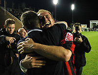 Photo: Tony Oudot.<br /> Milton Keynes Dons v Shrewsbury Town. Coca Cola League 2. Play off Semi Final 2nd Leg. 18/05/2007.<br /> Kelvin Langmead of Shrewsbury celebrates with manager Gary Peters