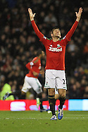 Picture by David Horn/Focus Images Ltd +44 7545 970036.29/12/2012.Angel Rangel of Swansea City celebrates the team's second goal during the Barclays Premier League match at Craven Cottage, London.
