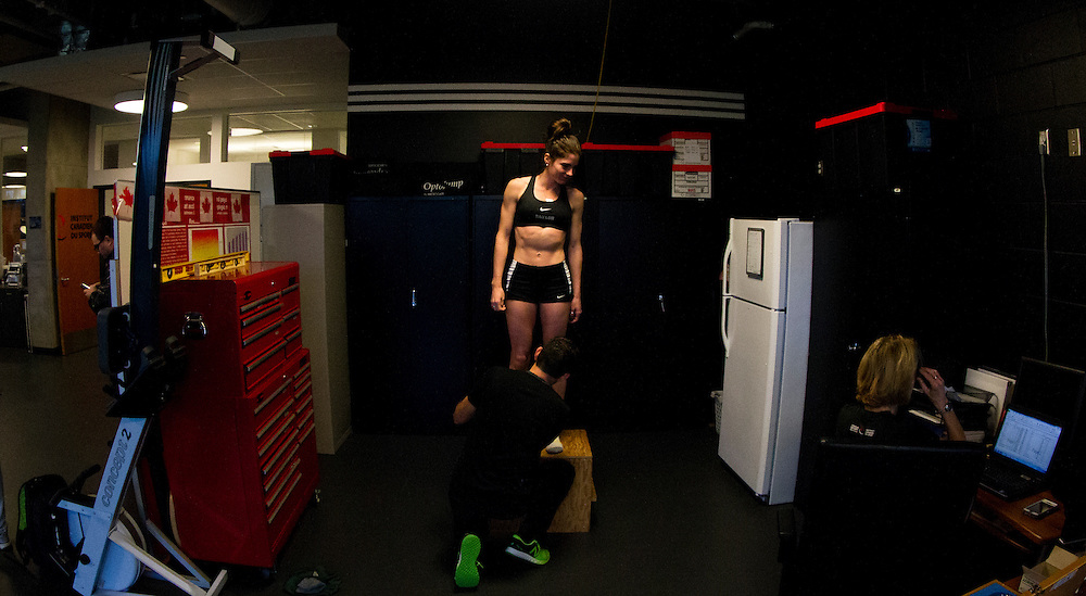 Mariah Kelly trains and goes through biomechanical and performance analytics at the PISE Pacific Institute for Sport Excellence on December 4th, 2015 in Victoria, British Columbia Canada.