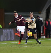 12th December 2017, Tynecastle Park, Edinburgh, Scotland; Scottish Premier League football,  Heart of Midlothian versus Dundee; Hearts' Kyle Lafferty and Dundee's Cammy Kerr