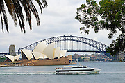 Cruise ship passes by Sydney Opera House and Sydney Harbour Bridge, Australia