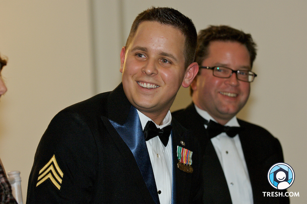 Former U.S. Army Sergeant Bleu Copas prior to the Servicemembers Legal Defense Network 15th Annual Dinner, held Saturday, March 24, 2007, at the National Building Museum in Washington, D.C. SLDN Executive Director C. Dixon Osburn in background.