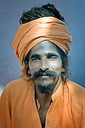 Portrait of a holy man (saddhu) in an India ashram.