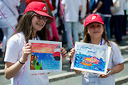"""Vatican City may 28th 2016, pope meets the """" Children's train """". In the picture two children with draws illustrating immigrants in Mediterranean Sea"""