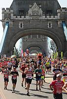Athletics - 2018 Virgin Money London Marathon<br /> <br /> Runners crossing Tower Bridge<br /> <br /> COLORSPORT/ANDREW COWIE