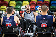 UNITED KINGDOM, London: 2015 World Wheelchair Rugby Challenge. Caption: Hayden Barton-Cootes of New Zealand performs the haka in front of team USA before their match. Rick Findler / Story Picture Agency