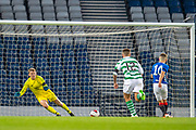 Liam Hughes (#1) of Celtic FC saves a penalty from Kai Kennedy (#10) of Rangers FC during the Scottish FA Youth Cup Final match between Celtic and Rangers at Hampden Park, Glasgow, United Kingdom on 25 April 2019.