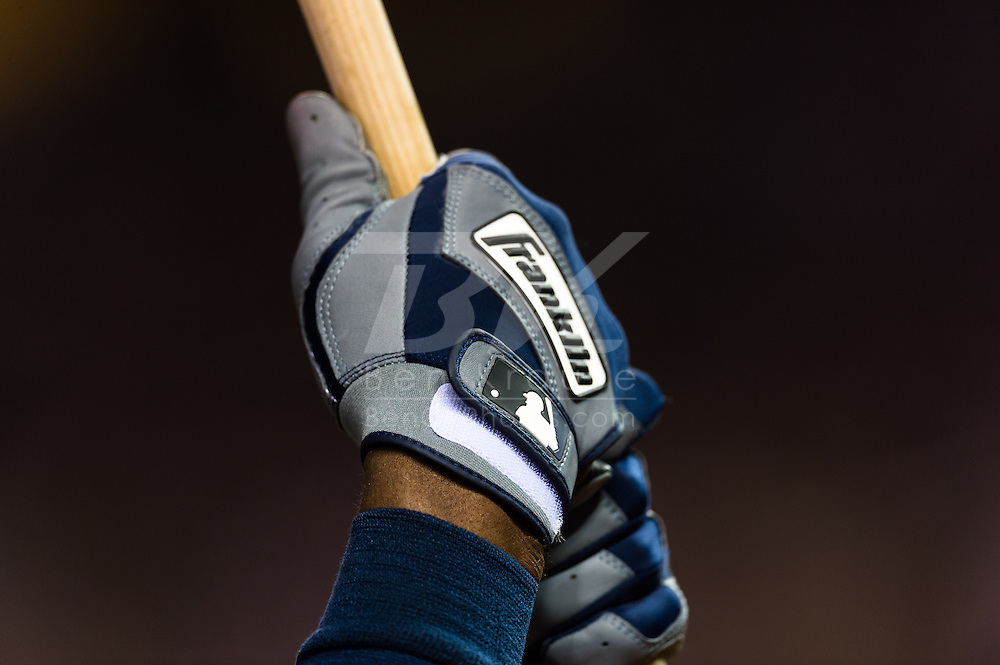 A close up view of the batting gloves of B.J. Upton (2) of the Tampa Bay Rays as he waits on-deck during a game against the Minnesota Twins on August 10, 2012 at Target Field in Minneapolis, Minnesota.  The Rays defeated the Twins 12 to 6.  Photo: Ben Krause