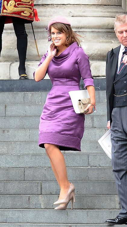 05.JUNE.2012. LONDON<br /> <br /> PRINCESS EUGENE LEAVING THE SERVICE OF THANKSGIVING AS PART OF THE QUEEN'S DIAMOND JUBILEE CELEBRATIONS AT ST PAUL'S CATHEDRAL IN LONDON<br /> <br /> BYLINE: EDBIMAGEARCHIVE.CO.UK<br /> <br /> *THIS IMAGE IS STRICTLY FOR UK NEWSPAPERS AND MAGAZINES ONLY*<br /> *FOR WORLD WIDE SALES AND WEB USE PLEASE CONTACT EDBIMAGEARCHIVE - 0208 954 5968*