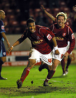 Photo: Dave Linney.<br />Walsall v Barnsley. The FA Cup. 17/01/2006.<br />Walsall's Kevin James (L) celebrates his goal.