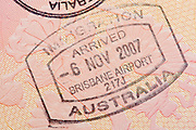 Passport page with the immigration control of Australia stamp.