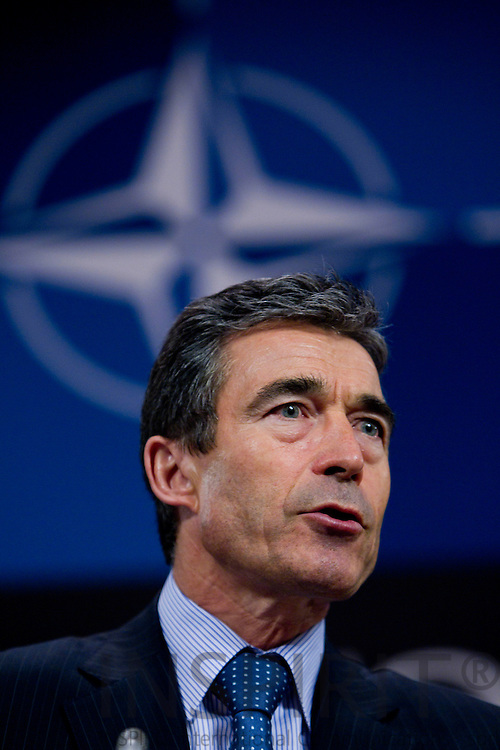 BRUSSELS - BELGIUM - 07 JUNE 2010 -- Anders Fogh Rasmussen, NATO Secretary General, during a press briefing ahead of defence ministers meeting at NATO later in the week. PHOTO: ERIK LUNTANG / EUP-Images