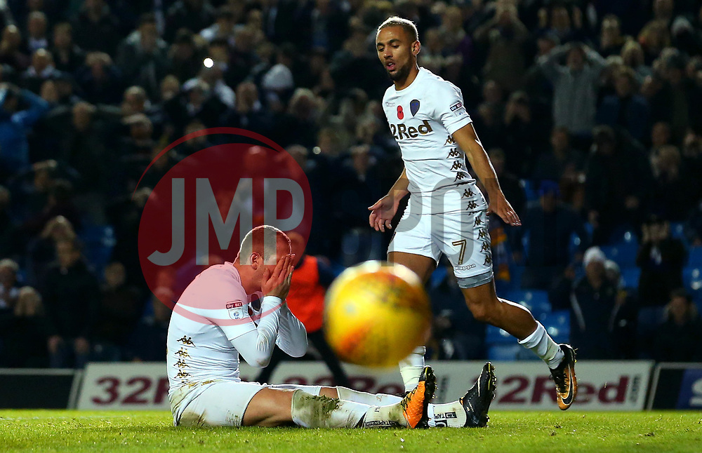 Pierre-Michel Lasogga of Leeds United cuts a dejected figure after missing a chance to score a goal - Mandatory by-line: Robbie Stephenson/JMP - 31/10/2017 - FOOTBALL - Elland Road - Leeds, England - Leeds United v Derby County - Sky Bet Championship