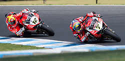 February 25, 2018 - Melbourne, Victoria, Australia - British rider Chaz Davies (#7) of Aruba.it Racing - Ducati leads Spanish rider Xavi Fores (#12) of Barni Racing during the second race on day 3 of the opening round of the 2018 World Superbike season at the Phillip Island circuit in Phillip Island, Australia. (Credit Image: © Theo Karanikos via ZUMA Wire)