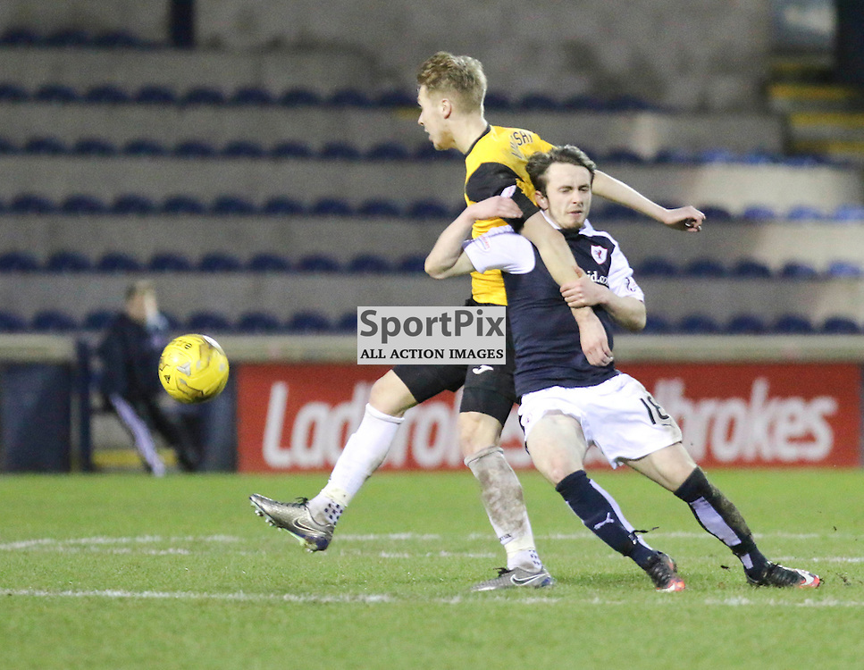 Jamie Lindsay in battle with Aidan Connolly during the Raith Rovers v Dumbarton  Scottish Championship 23 January 2016<br /> <br /> (c) Andy Scott | SportPix.org.uk