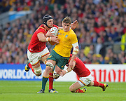 Sean McMahon breaks a Welsh tackle during the Rugby World Cup Pool A match between Australia and Wales at Twickenham, Richmond, United Kingdom on 10 October 2015. Photo by Ian Muir.during the Rugby World Cup Pool A match between Australia and Wales at Twickenham, Richmond, United Kingdom on 10 October 2015. Photo by Ian Muir.