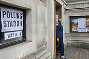 UNITED KINGDOM, London: 3 May 2018 British Prime Minister Theresa May and her husband Philip May walk out of the polling station at the Methodist Central Hall in Westminster this morning after casting their vote for the local elections in 150 local authorities. Rick Findler / Story Picture Agency