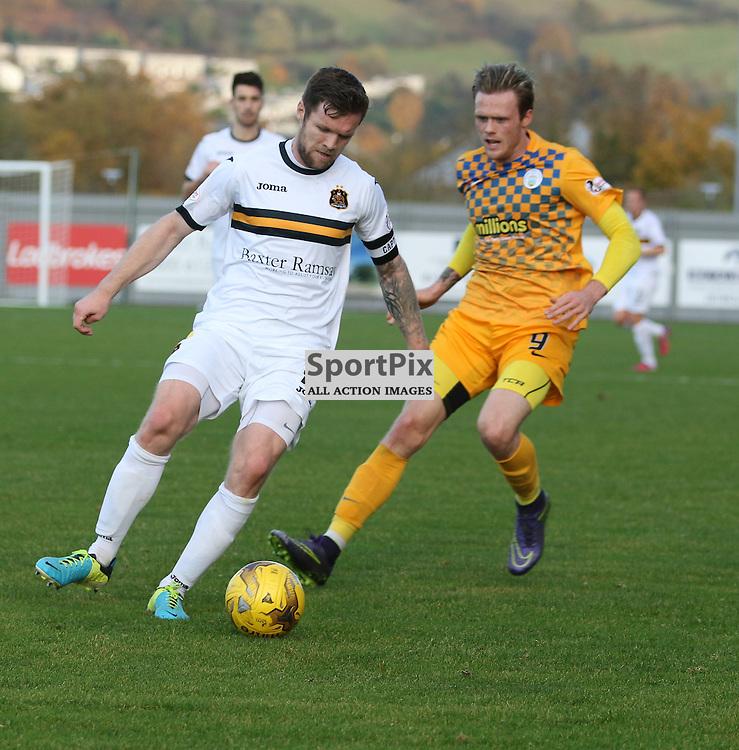 Darren Barr cuts out the morton attack during the Dumbarton FC v Morton FC Scottish Championship 31 October 2015 <br /> <br /> (c) Andy Scott   SportPix.org.uk