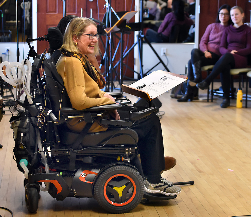 Mara Lavitt -- Special to the Hartford Courant<br /> February 14, 2016, Glastonbury<br /> Amyotrophic Lateral Sclerosis (ALS) forced Nancy Butler of Marlborough to step down as pastor of the Riverfront Family Church in Glastonbury during the Sunday service. Butler delivers the sermon.