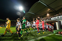 Players of both teams entering the pitch before football match between NŠ Mura and NK Aluminij in 17th Round of Prva liga Telekom Slovenije 2019/20, on November 10, 2019 in Fazanerija, Murska Sobota, Slovenia. Photo by Blaž Weindorfer / Sportida