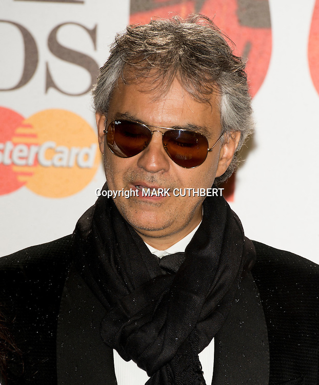 Andrea Bocelli arriving at the 2012 Classic Brit Awards at the Royal Albert Hall in London.