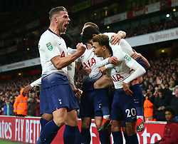 December 19, 2018 - London, England, United Kingdom - London, UK, 19 December, 2018.Tottenham Hotspur's Toby Alderweireld celebrate Tottenham Hotspur's Dele Alli.during Carabao Cup Quarter - Final between Arsenal and Tottenham Hotspur  at Emirates stadium , London, England on 19 Dec 2018. (Credit Image: © Action Foto Sport/NurPhoto via ZUMA Press)
