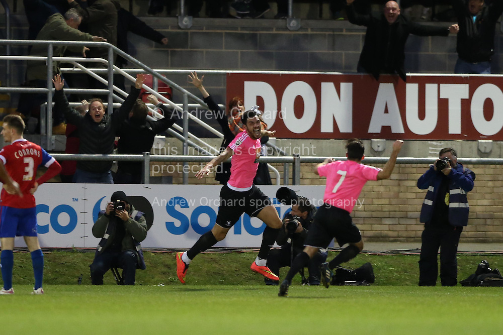 Jordan Rose of Whitehawk (c) celebrates as he scores his teams 1st goal of the match to make it 1-1. The Emirates FA Cup, 2nd round match, Dagenham &amp; Redbridge v Whitehawk FC at the The London Borough of Barking &amp; Dagenham Stadium in London on Sunday 6th December 2015.<br /> pic by John Patrick Fletcher, Andrew Orchard sports photography.