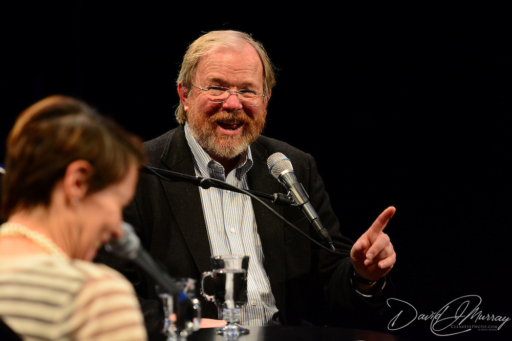 NHPR's Virginia Prescott interviews author Bill Bryson during a Writers on a New England Stage show at The Music Hall in Portsmouth, NH