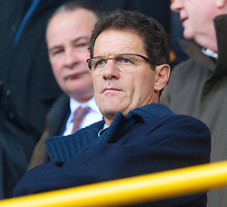 WOLVERHAMPTON, ENGLAND - Saturday, March 27, 2010: England manager Fabio Capello watches Everton take on Wolverhampton Wanderers during the Premiership match at Molineux. (Photo by David Rawcliffe/Propaganda)