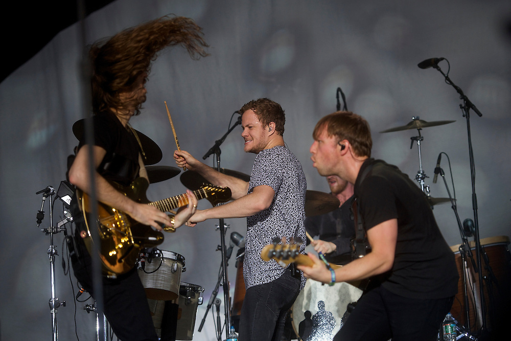 Imagine Dragons perform during the Firefly Music Festival in Dover, DE on June 21, 2014.  The four day festival is set at a 105 acre grounds at the Dover International Speedway and many well known bands perform.