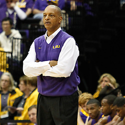 November 12, 2011; Baton Rouge, LA; LSU Tigers head coach Trent Johnson looks on from the bench during the first half against the Nicholls State Colonels of a game at the Pete Maravich Assembly Center.  Mandatory Credit: Derick E. Hingle-US PRESSWIRE