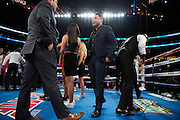 Oscar De La Hoya steps into the ring before a fight at AT&T Stadium in Arlington, Texas on September 17, 2016.  (Cooper Neill for ESPN)