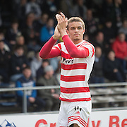 Hamilton&rsquo;s Carlton Morris applauds the Accies' support - Dundee v Hamilton Academical, Ladbrokes Scottish Premiership at Dens Park<br /> <br /> <br />  - &copy; David Young - www.davidyoungphoto.co.uk - email: davidyoungphoto@gmail.com