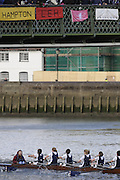 Hammersmith, GREAT BRITAIN,   JW15 8+, Oundle pass under Hammersmith Bridge,during the 2008 School Head of the River Race,  04/03/2008  2008. [Mandatory Credit, Peter Spurrier/Intersport-images] Rowing Course: River Thames, Championship course, Putney to Mortlake 4.25 Miles, Hammersmith Bridge