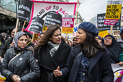 London, UK. 16th March, 2019. Salma Yaqoob, Sabby Dhalu and Claudia Webbe accompany thousands of people marching through central London on the March Against Racism demonstration on UN Anti-Racism Day against a background of increasing far-right activism around the world and a terror attack yesterday on two mosques in New Zealand by a far-right extremist which left 49 people dead and another 48 injured.