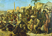 'A Market in Cairo'.  Franz Theodor Wurbel (b1858) German painter. Oil on canvas. Private colllection.