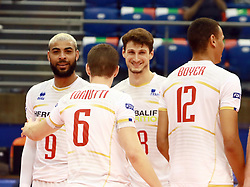 June 16, 2018 - Varna, Bulgaria - joy of the French team after a won point, in theleft Earvin NGAPETH (France), .mens Volleyball Nations League,week 4, Brazil vs Francel, Palace of culture and sport, Varna/Bulgaria, June 16, 2018, the fourth of 5 weekends of the preliminary lap in the new established mens Volleyball Nationas League takes place in Varna/Bulgaria. (Credit Image: © Wolfgang Fehrmann via ZUMA Wire)