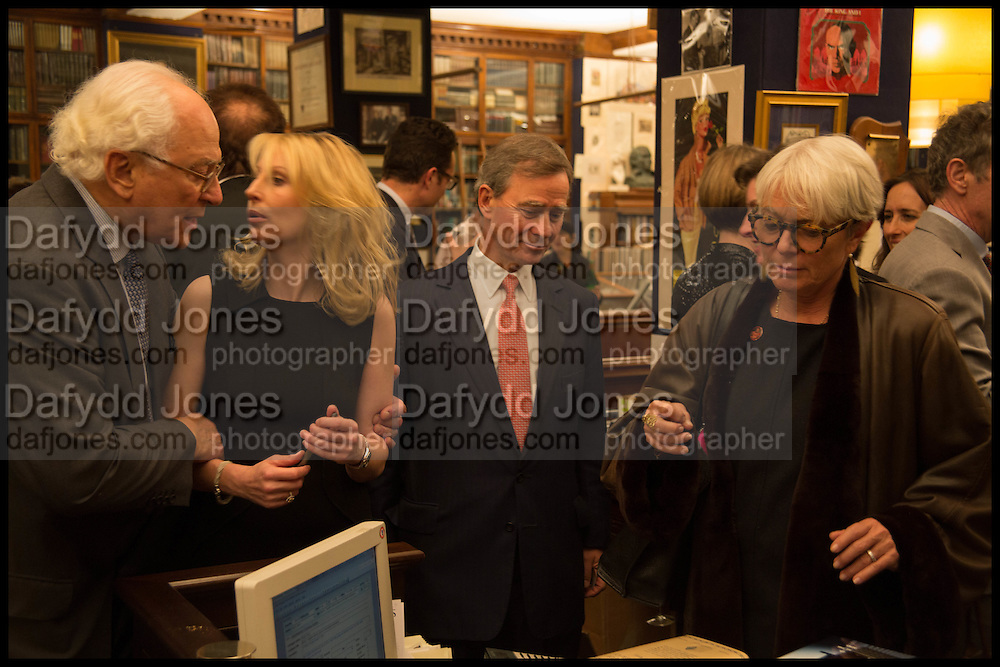 SIR EVELYN DE ROTHSCHILD;; VICKY WARD; ROBBIE RAYNES; BENNY RAYNES, Book party for 'The Liar's Ball' by Vicky Ward hosted by  Sir Evelyn  de Rothschild at Henry Sotheran's, 2 Sackville Street London. 25 November 2014