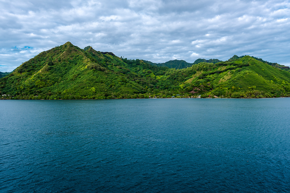 Morning photo approaching the island of Moorea early in the morning.