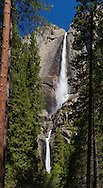 Both upper and lower Yosemite Falls can be seen from the main trail leading to the lower falls, Yosemite National Park