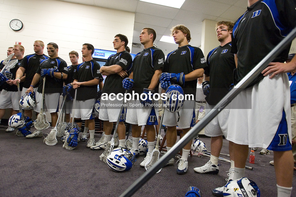 28 May 2007: Duke Blue Devils in a players-only meeting pregame in the locker room before playing Johns Hopkins in the NCAA Championship at M&T Stadium in Baltimore, MD.