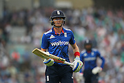 England Sam Billings is out for 12 during the Royal London One Day International match between England and New Zealand at the Oval, London, United Kingdom on 12 June 2015. Photo by Phil Duncan.