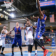 Westchester Knicks Forward Thanasis Antetokounmpo (43) drives towards the basket as Delaware 87ers Forward Kenny Hall (33) defends in the second half of a NBA D-league regular season basketball game between the Delaware 87ers and the Westchester Knicks (New York Knicks) Wednesday, Feb. 17, 2015 at The Bob Carpenter Sports Convocation Center in Newark, DEL