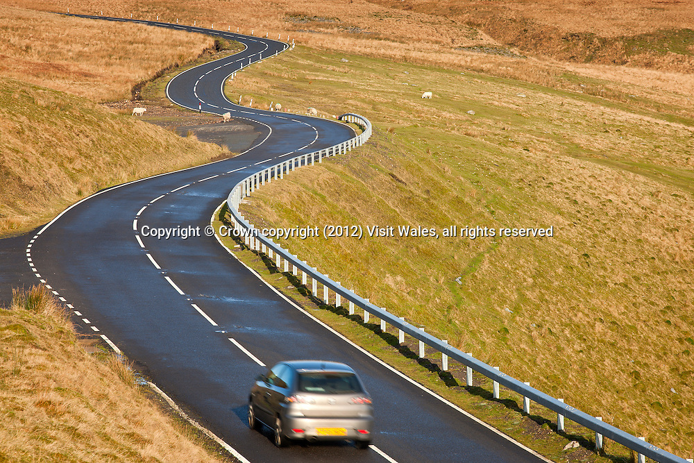 A4069 road over Black Mountain<br /> Brecon Beacons<br /> Near Brynaman<br /> Carmarthenshire<br /> South<br /> Road<br /> Transport