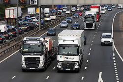 © Licensed to London News Pictures.25/08/2017.<br /> Dartford,UK.<br /> Self-Drive lorries are to be trailed in the UK. A small convoy of partially self drive lorries will be tested next year the goverment  has announced.<br /> Photo credit: Grant Falvey/LNP